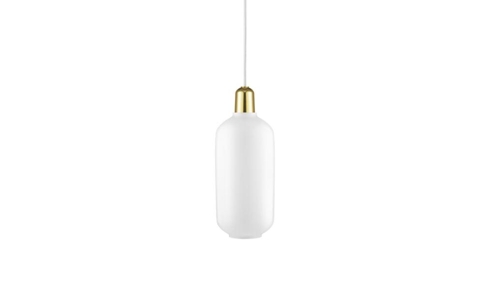 Amp pendel large white, brass