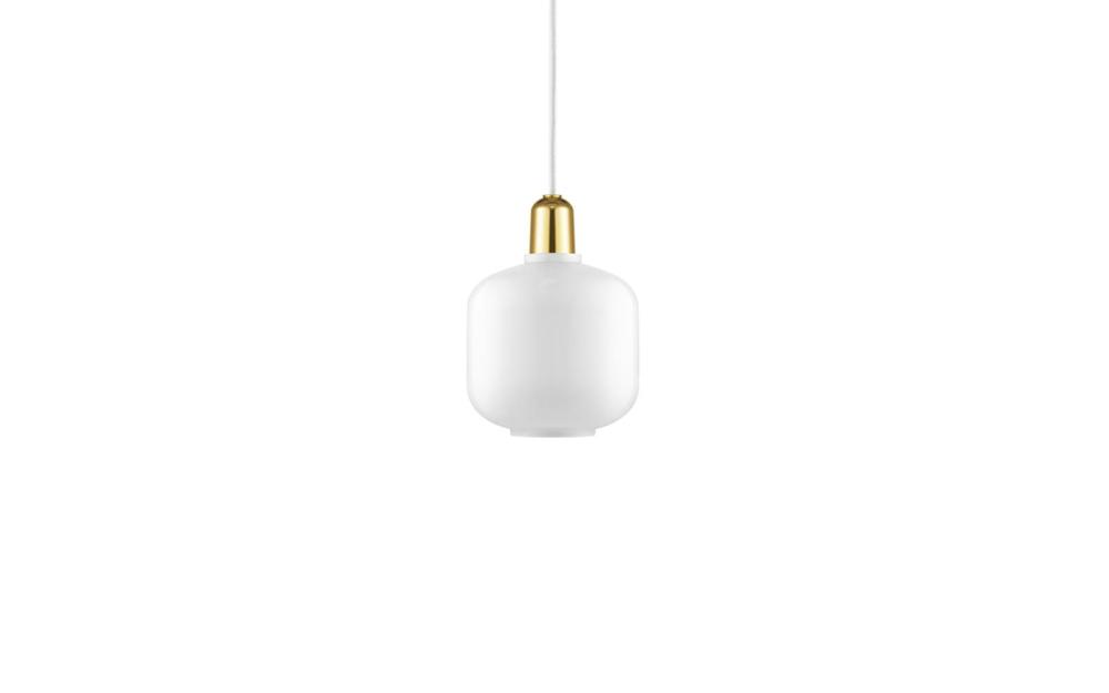Amp pendel small white, brass