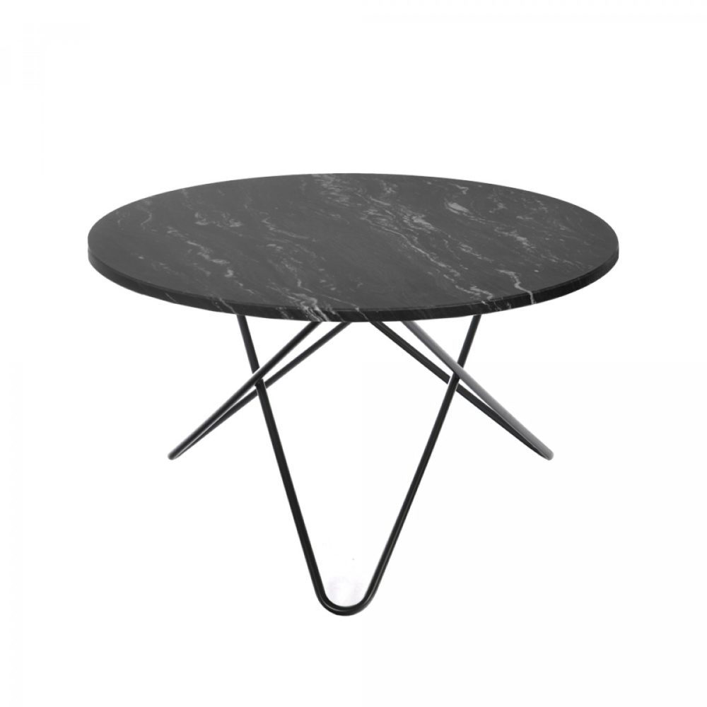 Big O-Table Marquina marble, svartlackerat underrede