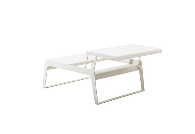 Chill out soffbord med två skivor Vit aluminium Utemöbler