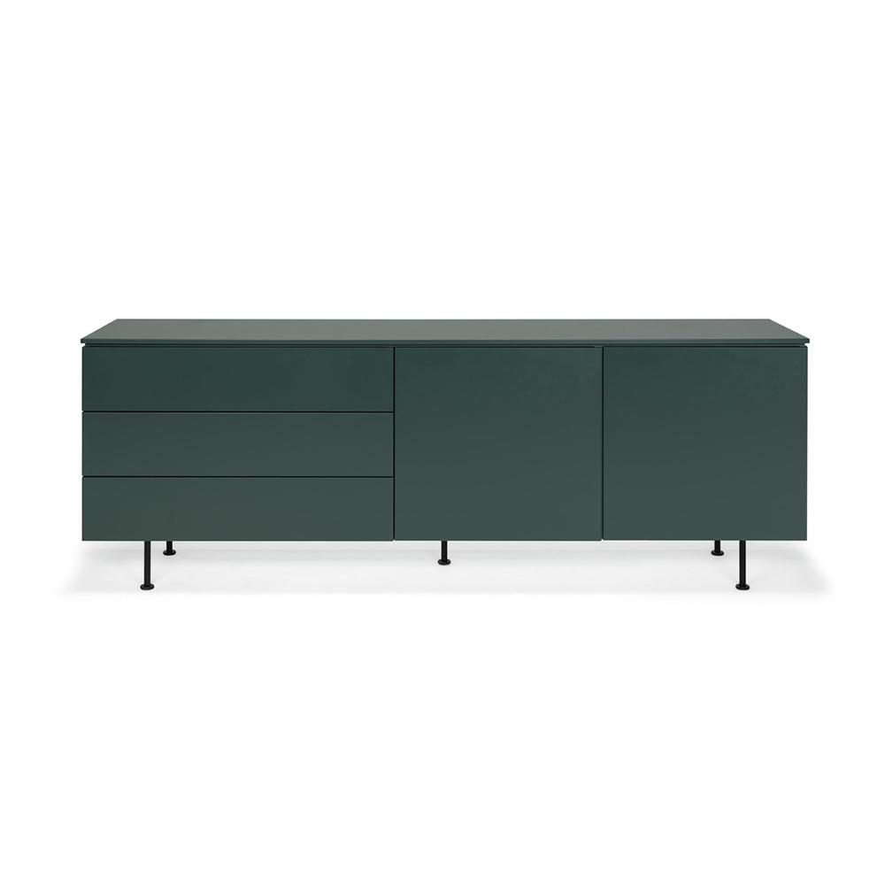 Plain sideboard grön kort 3 lådor 2 dörrar